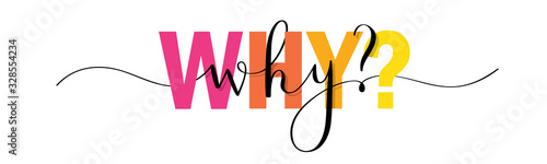 Obraz WHY? vector colorful mixed typography banner with interwoven brush calligraphy - fototapety do salonu