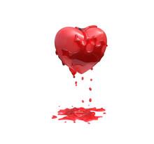 Red Loving Heart Bleeding On W...