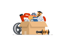Cardboard With Car Parts. Various Auto Accessories. Concept For Shop. Vector Illustration Isolated On White Background.