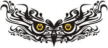 Ornamental Owl Mask With Orange Eyes. Beautiful Decorative Owl Eyes For Holidays, Tattoo, Prints, Emblems And Etc.
