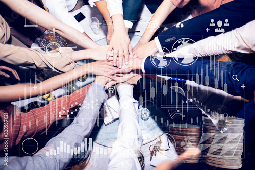 Hands of business teamwork, top view executive business people group team happy showing teamwork and joining hands after meeting partner business in office Wallpaper Mural