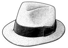 Panama Hat Illustration, Drawing, Engraving, Ink, Line Art, Vector