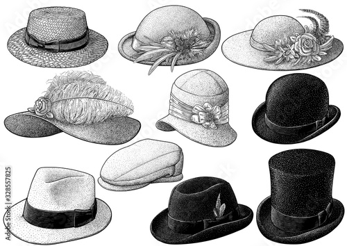 Vintage hat collection illustration, drawing, engraving, ink, line art, vector Fototapet