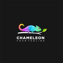 Chameleon Colorful Logo Symbol Design Illustration