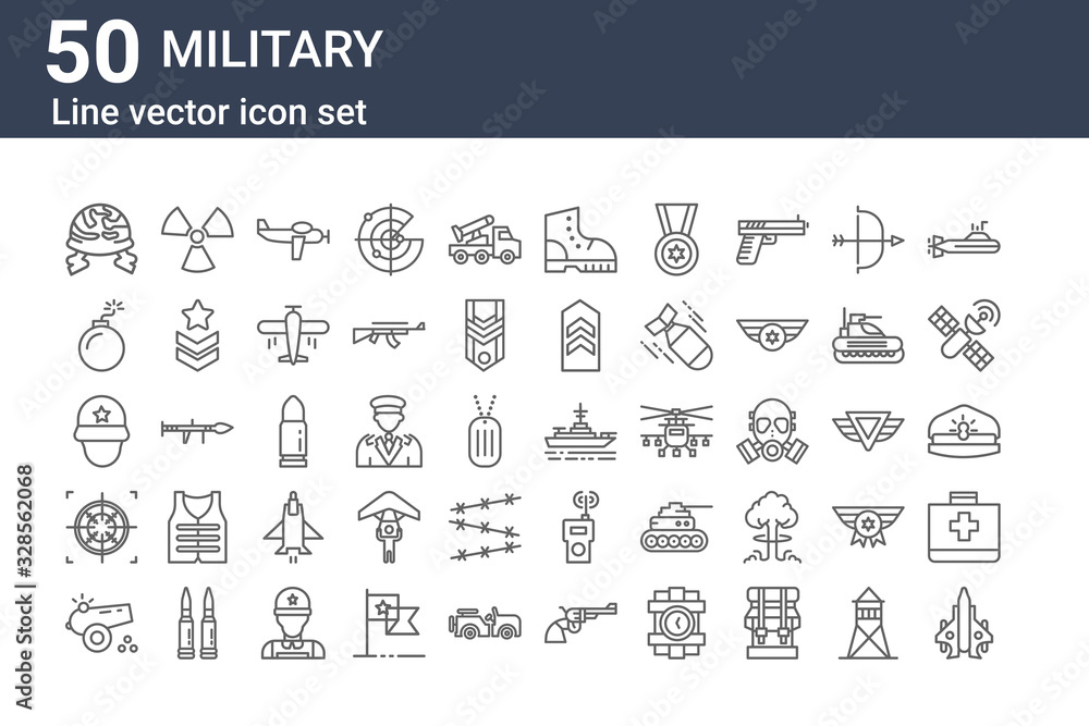 Fototapeta set of 50 military icons. outline thin line icons such as jet, canon, crosshair, soldier, bomb, nuclear, battleship