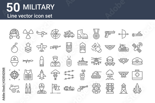 Canvas Print set of 50 military icons