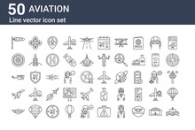 Set Of 50 Aviation Icons. Outl...
