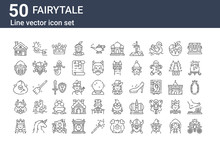 Set Of 50 Fairytale Icons. Outline Thin Line Icons Such As Pumpkin Carriage, Queen, Minotaur, Cyclops, Helmet, Magic, Musketeer