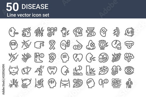 set of 50 disease icons Canvas Print