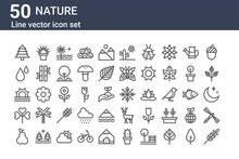 Set Of 50 Nature Icons. Outlin...