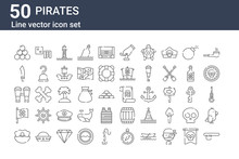 Set Of 50 Pirates Icons. Outli...