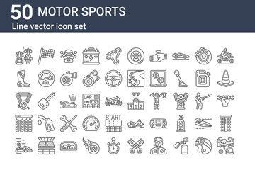 set of 50 motor sports icons. outline thin line icons such as racing car, karting, lights, medal, boot, racing flag, podium