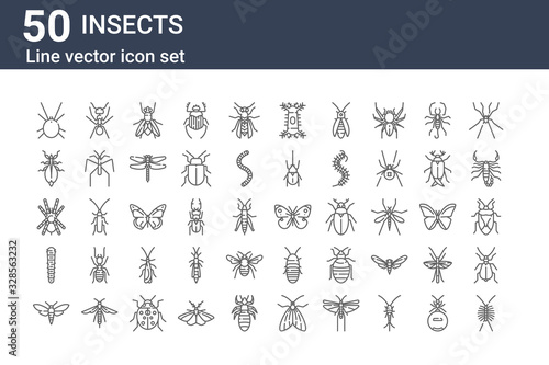 Fotografia set of 50 insects icons