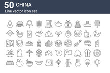 Set Of 50 China Icons. Outline Thin Line Icons Such As Lantern, Dumpling, Bonsai, Silk, Bamboo Hat, Building, Dragon