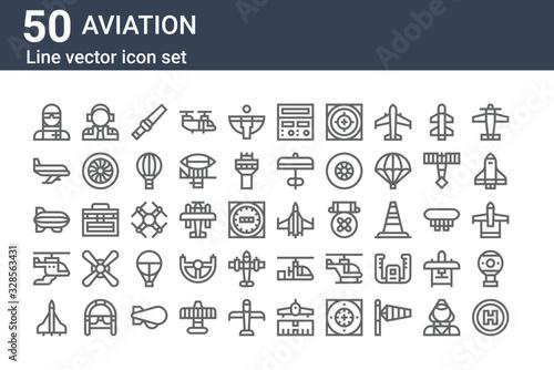 Canvastavla set of 50 aviation icons