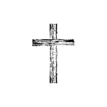 Wooden Cross Isolated On White...