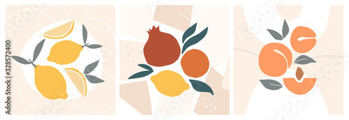 Abstract still life in pastel colors posters. Collection of contemporary art. Abstract paper cut elements, fruits for social media, postcards, print. Hand drawn apricot, pomegranate, lemons. - 328572400