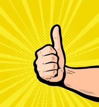 Thumbs Up, Success. Retro Comi...