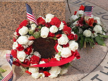 Memorial Wreaths With American...