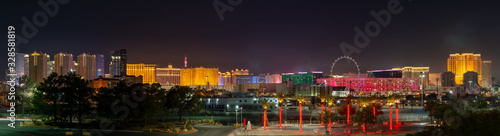 USA, Nevada, Clark County, Las Vegas Strip. A panorama of the skyline of the famous hotels and casinos in this world-class city at night
