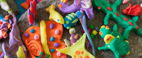 Little sea animals made with playdough