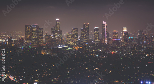 Beautiful super wide-angle night aerial view of Los Angeles, California, USA, wi Fototapete