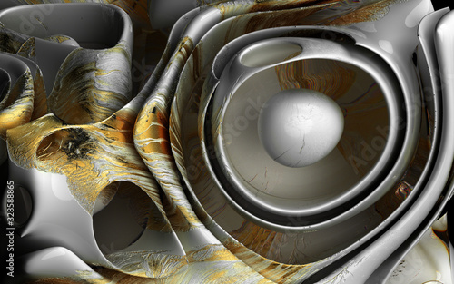 3d render of abstract art 3d surreal background based on organic round wavy smooth and soft bio forms in white glossy ceramic material with scratches and golden and glass parts  - 328588865