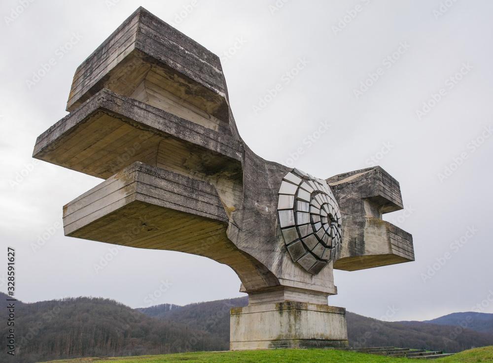 Fototapeta The Monument to the Revolution of the People of Moslavina in Bjelovar-Bilogora County, central Croatia - a Yugoslavia era world war two memorial