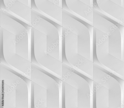 Futuristic 3D Wallpaper of white angular shape Wallpaper Mural