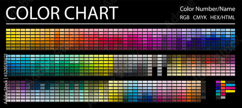 Fototapeta Color Chart. Print Test Page. Color Numbers or Names. RGB, CMYK, HEX HTML codes. Vector color palette. obraz