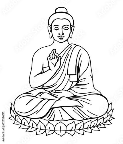 Tableau sur Toile Sitting Meditating Buddha