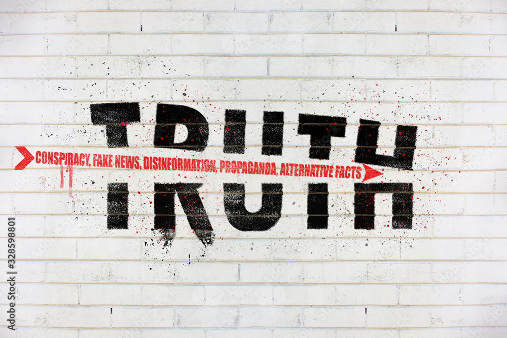 Fototapeta The word truth with an arrow of conspiracy, fake news, disinformation, propaganda, alternative facts, painted on old white wall, Truth being destroyed concept illustration
