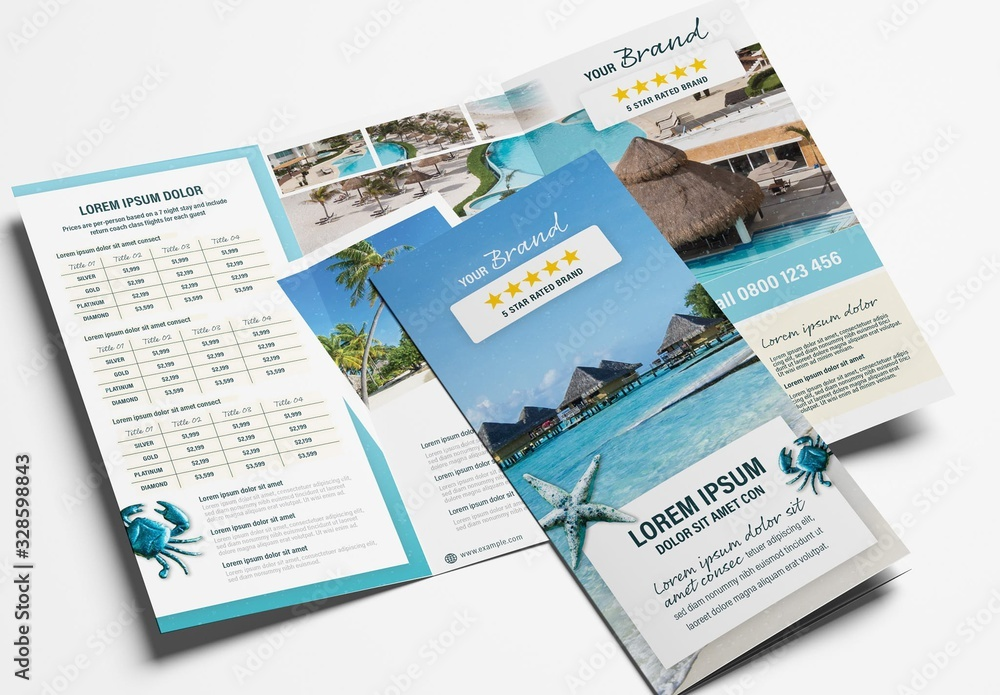 Fototapeta Hotel Trifold Brochure Layout for Tour Agents