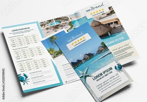 Obraz Hotel Trifold Brochure Layout for Tour Agents - fototapety do salonu