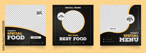 social media instagram post template for food promotion simple banner frame