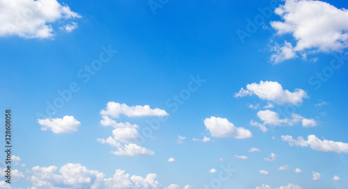 Blue sky background and white clouds soft focus, and copy space Fototapeta
