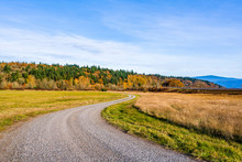 Winding Dirt Road Among Meadows In Columbia Gorge In Autumn
