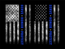 Grunge Usa Police With Thin Bl...