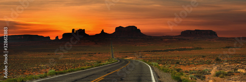Panoramic view of highway to Monument valley Canvas Print