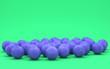 Leinwanddruck Bild - Multiple football balls in flat monochrome green scene, single color, 3d rendering