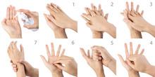 7 Step Hand Wash, Man Hands Us...