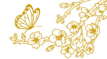 Butterfly And Cherry Blossom Twigs - Line Art