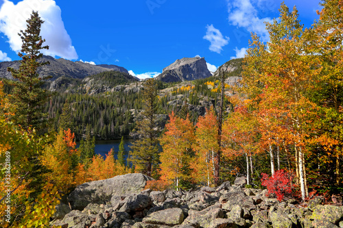 Scenic Bear lake landscape in Rocky mountain national park Canvas Print
