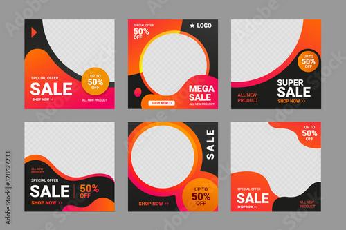 Set of Editable square instagram banner template Obraz na płótnie