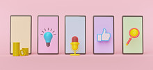 Smartphone Apps Concept Design. Minimal Style Symbols. Horizontal Banner. 3d Rendering