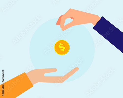 Business or financial conceept: Two hands with golden coin that show buying or s Canvas Print