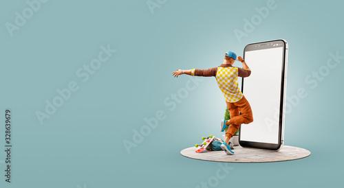 Obraz na plátne Unusual 3d illustration smart phone application