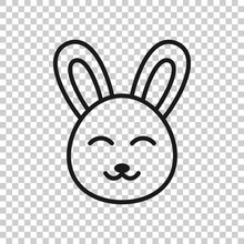 Rabbit Icon In Flat Style. Bun...