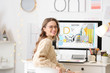 Leinwanddruck Bild - Female interior designer working in office