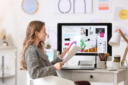 Obraz na plátně Female interior designer working in office